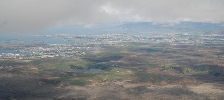 Flygbild över Reykjavik
