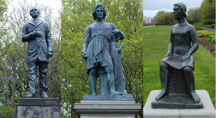 I samma park finns dessa tre statyer. Nr 1: Jonas Hallgrimsson, Nr 2: Bertel Thorvaldsen, Nr 3: a heimleid.