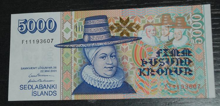 Isländsk sedel. Motsvarar ca 300 kr (2011)