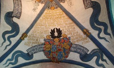 Interiör från innertaket i Brahekyrkan