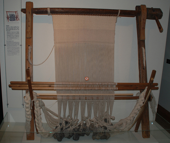 The warp-weighted loom was familiar in Europé in ancient times. Looms of this kind remained in use in Iceland until the 19th century, longest probably in Öræfasveit in the South of Iceland. In a day's work, a good weaver could produce en ell (alin), around half a metre of metre-with cloth.