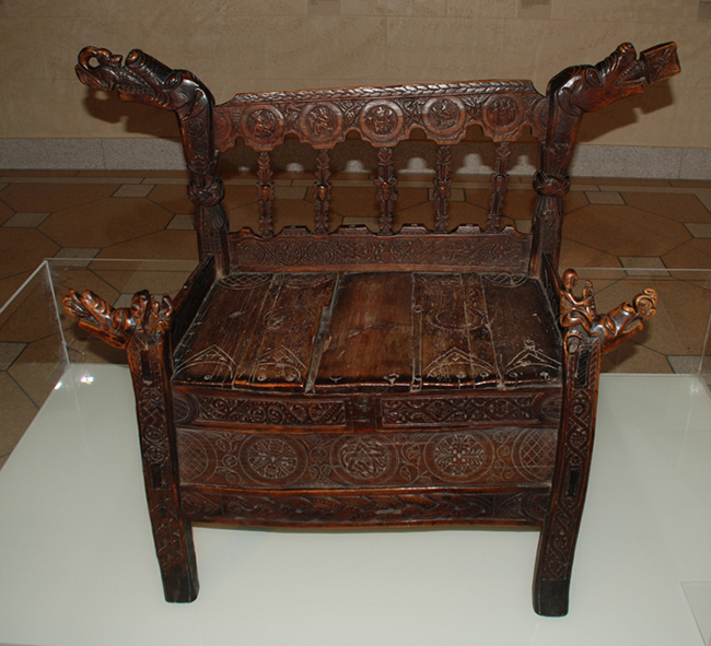 Chair of Lawman Ari Jónsson, son of Bishop Jón Arason. Carved mostly in birch. (Before 1550)