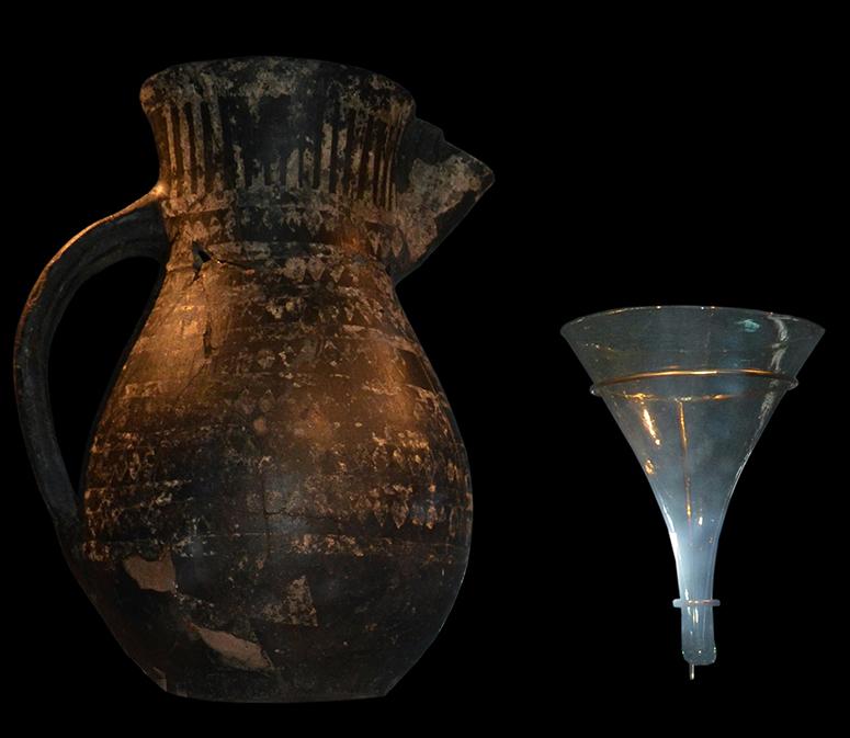 Frisisk kanna och frankisk glasbägare som kvinnan från Birka hade i sin ägo