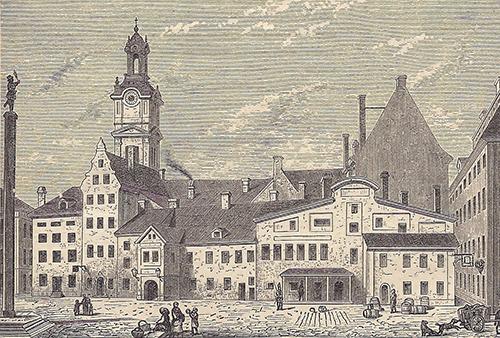 Stortorget i Stockholm med Storkyrkan i bakgrunden, ca 1767