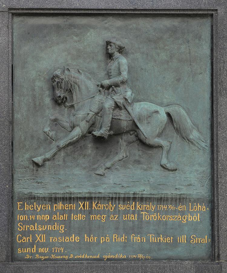 Carl XII rastade här på ridt från Turkiet till Stralsund nov 1714. (Hörnet Váci utca och Irányi utca)