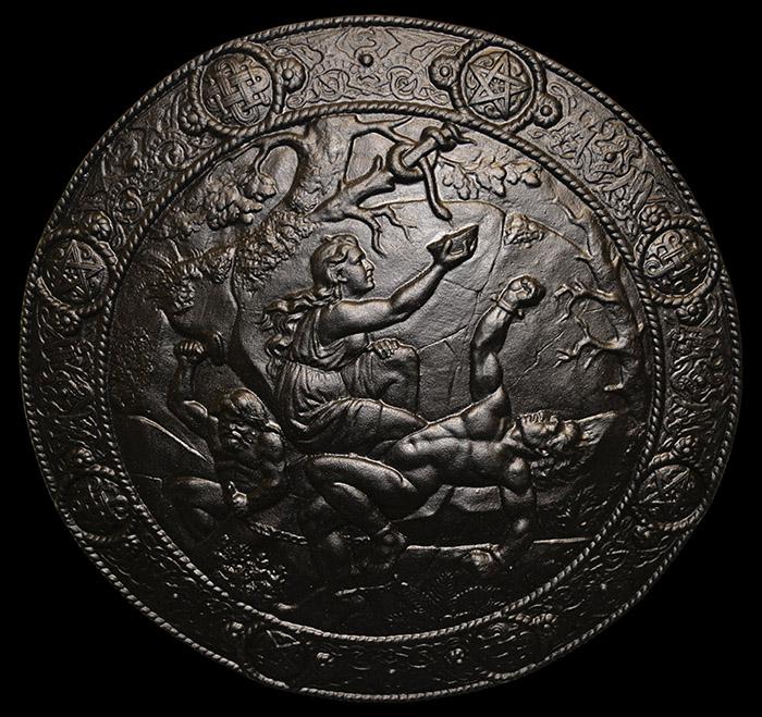 Asaguden Loke fjättrad och frun Sigyn vill skydda honom genom at hålla upp en skål för att fånga upp giftet från ormen som rinner ned i Lokes mun. När skålen är full kommer giftet ned i Loken mun och han vrider sig av smärta vilken framkallar jordskalv.