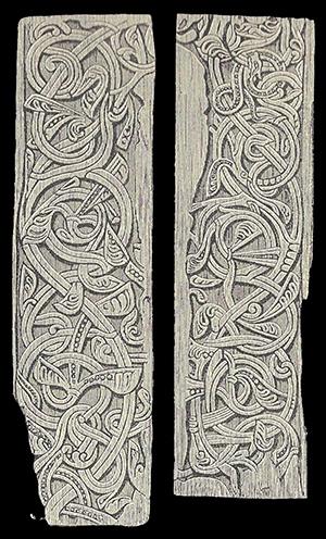Dörrplankor från Veums kyrka i Telemarken.