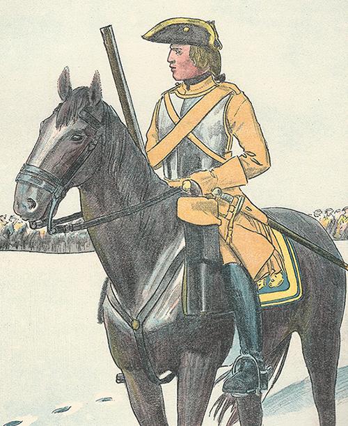 Soldat i Livregementet hade i stort sett oförändrad klädsel 1683-1778