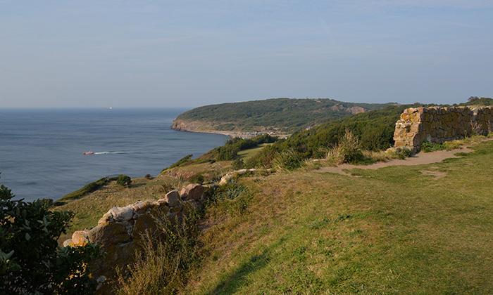 Utsikt från fästningen norrut mot Hammerknuden